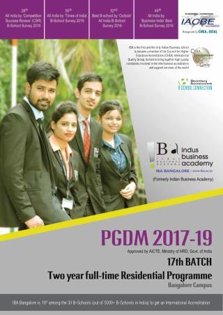 IBA Bangalore - PGDM 2017-19