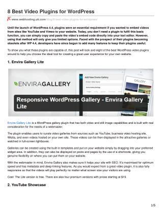 8 Best Video Plugins for WordPress