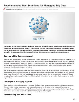 Recommended Best Practices for Managing Big Data