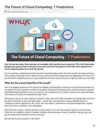 The Future of Cloud Computing: 7 Predictions