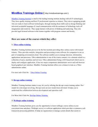 MindboxTrainings- Tibco Online Training, Devops Online Training