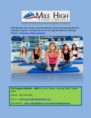 Corporate Wellness Portal| Mile High Fitness & Wellness