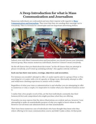 A Deep Introduction for what is Mass Communication and Journalism