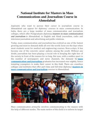 National Institute For Masters In Mass Communications and Journalism Course In Ahmedabad