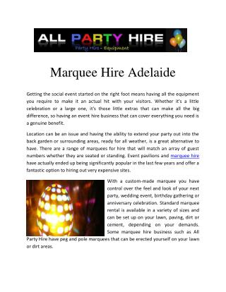 marquee hire adelaide