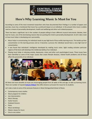 Here's Why Learning Music Is Must for You