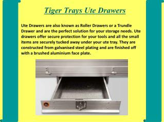 Overview of Ute Drawers