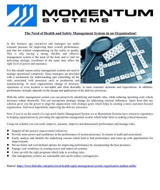 The Need of Health and Safety Management System in an Organization!