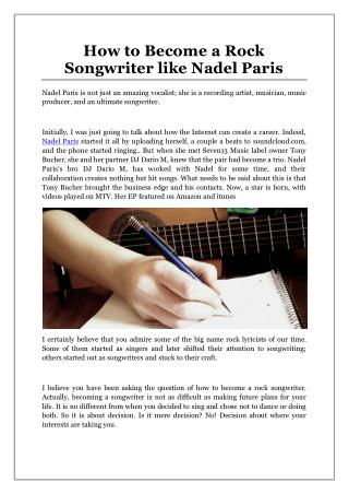 How to Become a Rock Songwriter like Nadel Paris