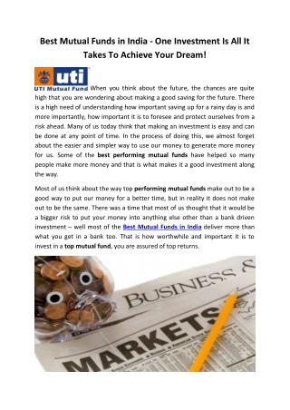 Best Mutual Funds in India - One Investment Is All It Takes To Achieve Your Dream