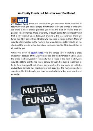 An Equity Funds Is A Must In Your Portfolio!