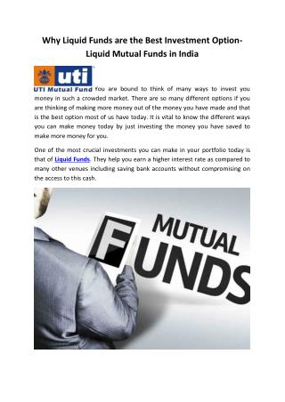 Why Liquid Funds are the Best Investment Option- Liquid Mutual Funds in India