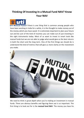 Thinking Of Investing In a Mutual Fund NAV, Know Your NAV