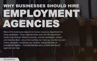 Why businesses need to hire employment agencies?