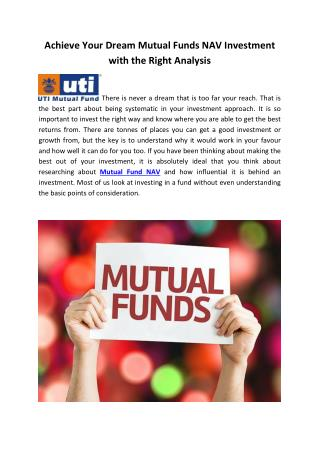 5 Achieve Your Dream Mutual Funds NAV Investment with the Right Analysis