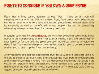 Points to Consider If You Own a Deep Fryer