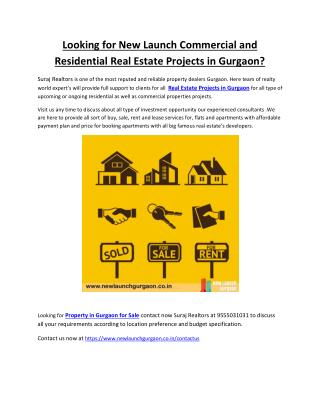 Looking for New Launch Commercial and Residential Real Estate Projects in Gurgaon? Call at 9555031031