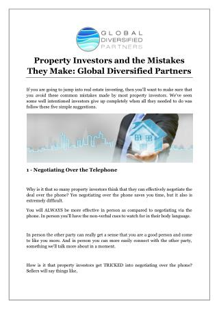 Property Investors and the Mistakes They Make: Global Diversified Partners