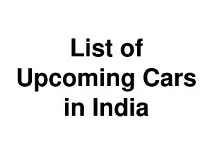 List of Top Upcoming Cars in India 2017