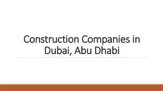 Find construction companies in Dubai, Abu Dhabi