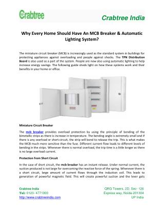 Why Every Home Should Have An MCB Breaker & Automatic Lighting System?