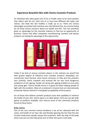 Experience Beautiful Skin with Clarins Cosmetic Products