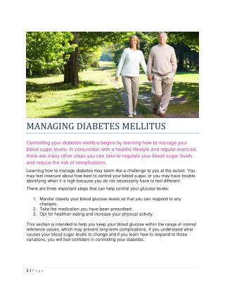MANAGING DIABETES MELLITUS
