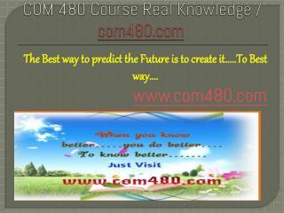 COM 480 Course Real Knowledge / com 480 dotcom