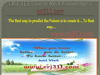 CRJ 311 Course Real Knowledge / crj 311 dotcom