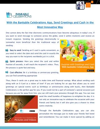 With the Bankable Celebrations App Send Greetings and Cash in the Most Innovative Way