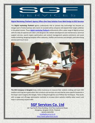 Digital Marketing Thailand Agency Offers One Stop Solution from Web Design to SEO Services