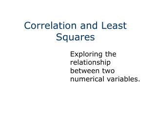 Correlation and Least Squares