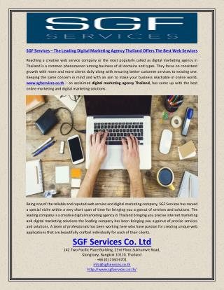SGF Services – the Leading Digital Marketing Agency Thailand Offers the Best Web Services