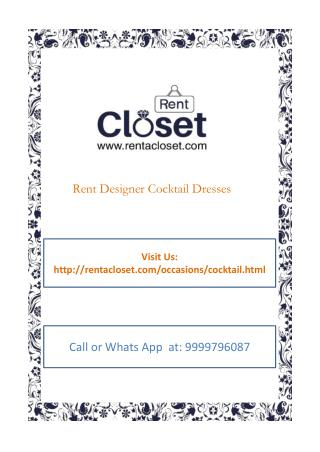 Rent Cocktail Dress in Delhi NCR at Rent A Closet