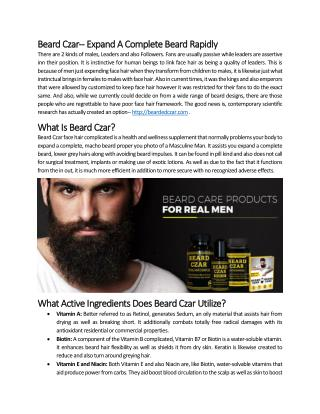 Beard Czar-- Expand A Complete Beard Rapidly