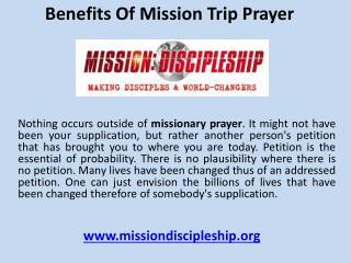Benefits of mission trip prayer