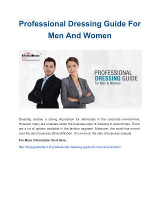 Professional Dressing Guide For Men And Women