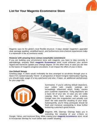 Magento Ecommerce Store for Your Business