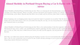 Ahmed Sheikhly in Portland Oregon Find Just the Right Car with This Advice