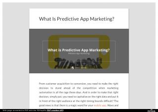 What Is Predictive App Marketing?