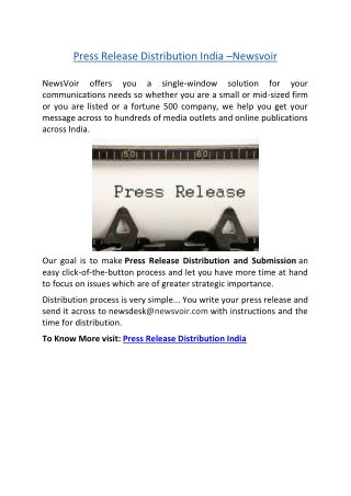 Press Release Distribution India –Newsvoir