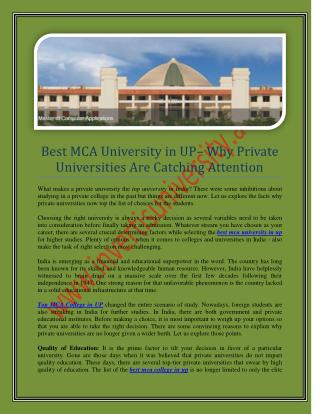 best mca college in up