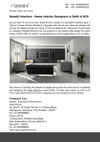 Home Interior Designers In Delhi & NCR