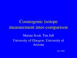 Cosmogenic isotope measurement inter-comparison