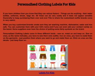 Personalised Clothing Labels For Kids