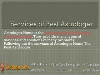 Services of Astrolger Home - The Best Astrologer