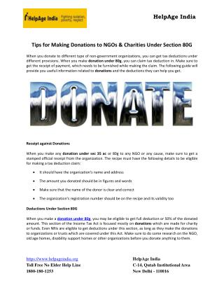 Tips for Making Donations to NGOs & Charities Under Section 80G