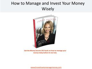 Manage your Money with This Book: Money Secrets 101