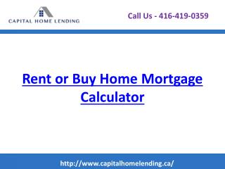 Rent or Buy Home Mortgage Calculator
