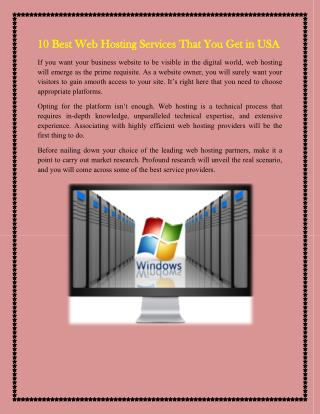 10 Best Web Hosting Services That You Get in USA